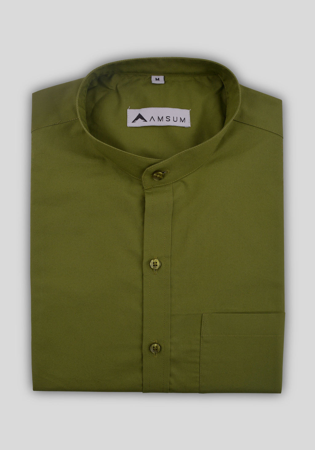 Dollar Bill Green Band Collar Shirt (Comfortable Slim Fit)