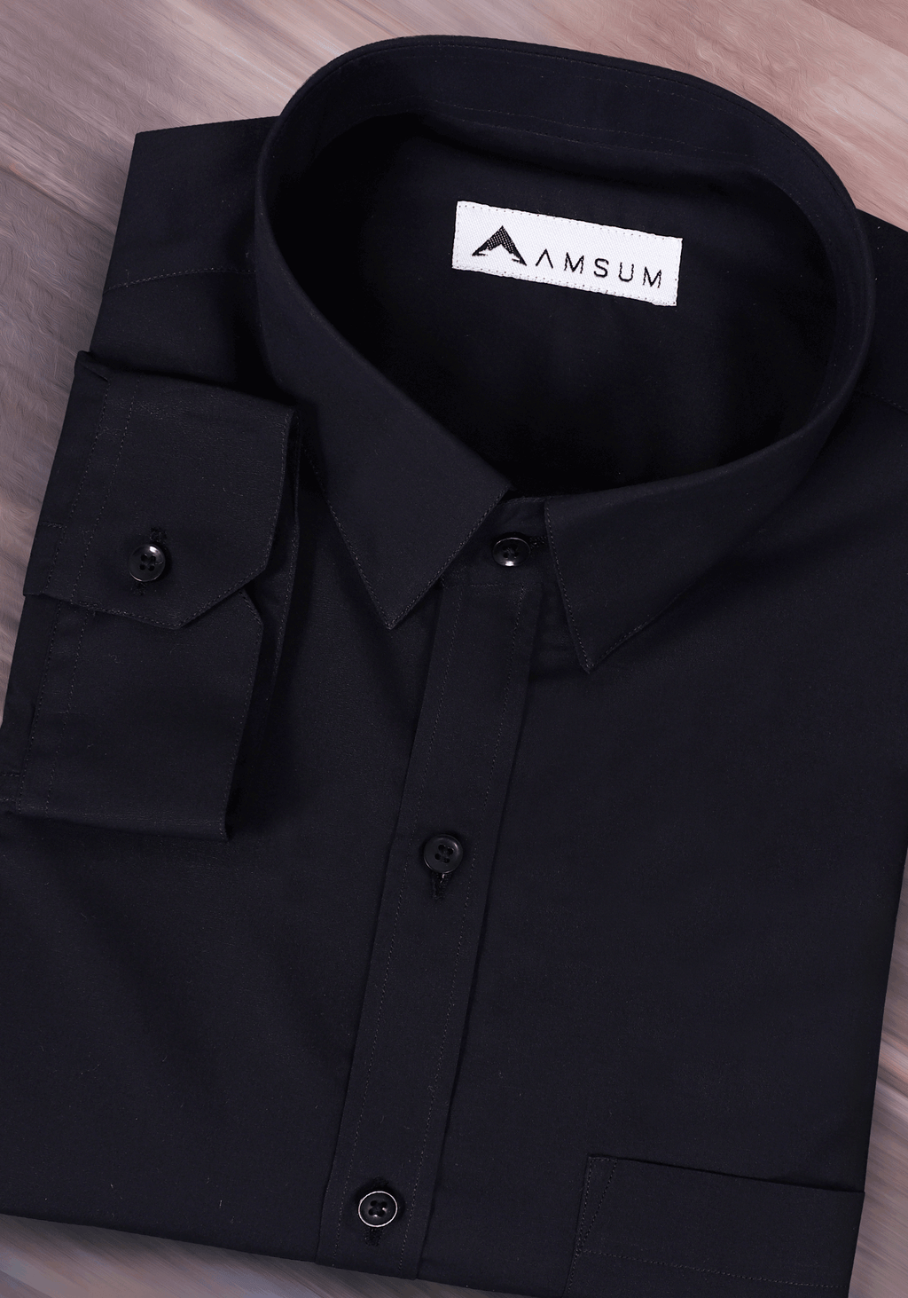Dark Night Black Shirt (Comfortable Slim Fit)