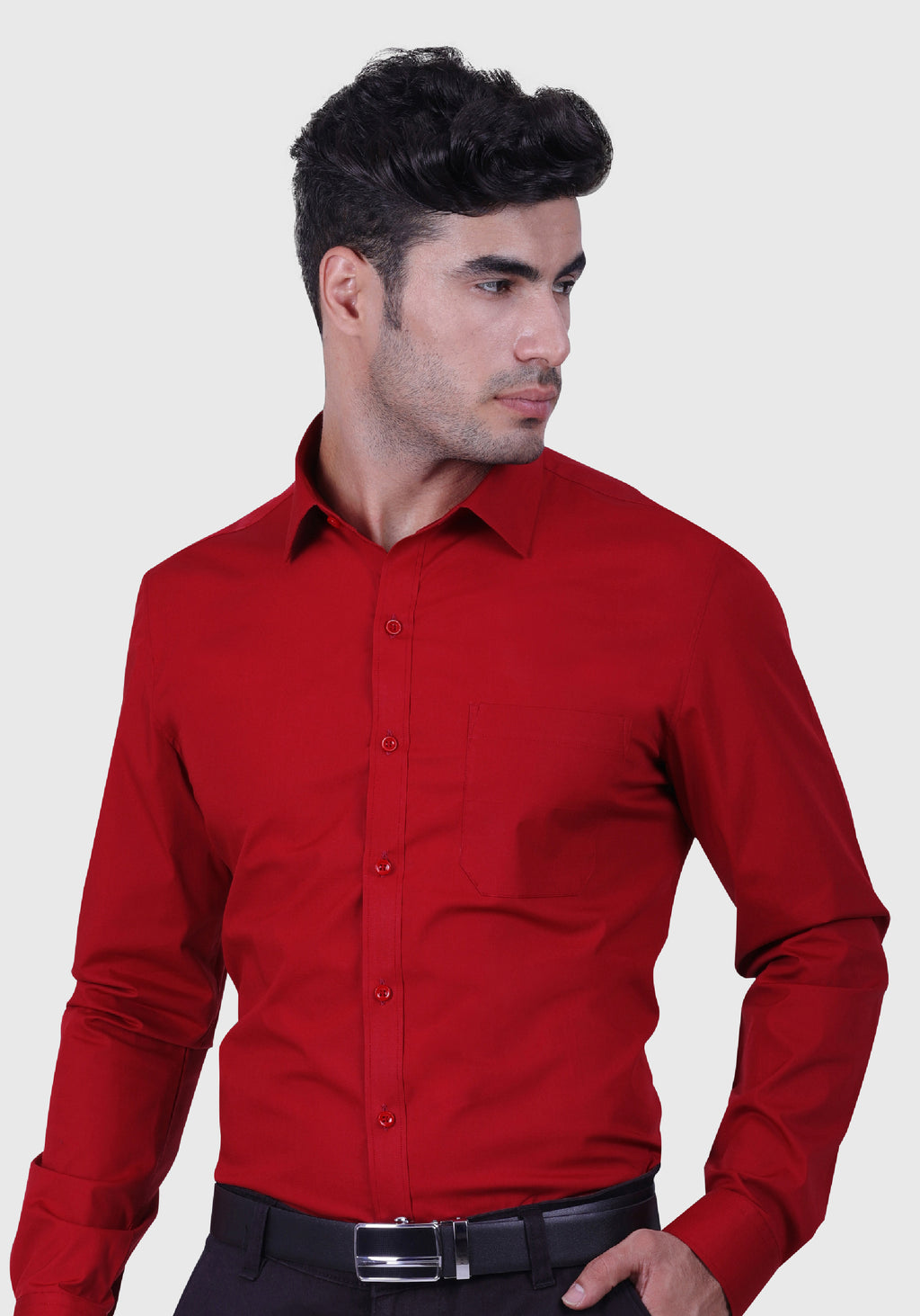 Chilli Pepper Red Shirt (Comfortable Slim Fit)