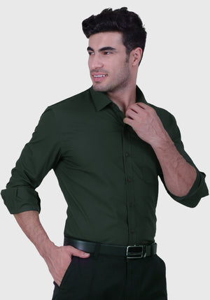 Jungle Green Shirt (Comfortable Slim Fit)