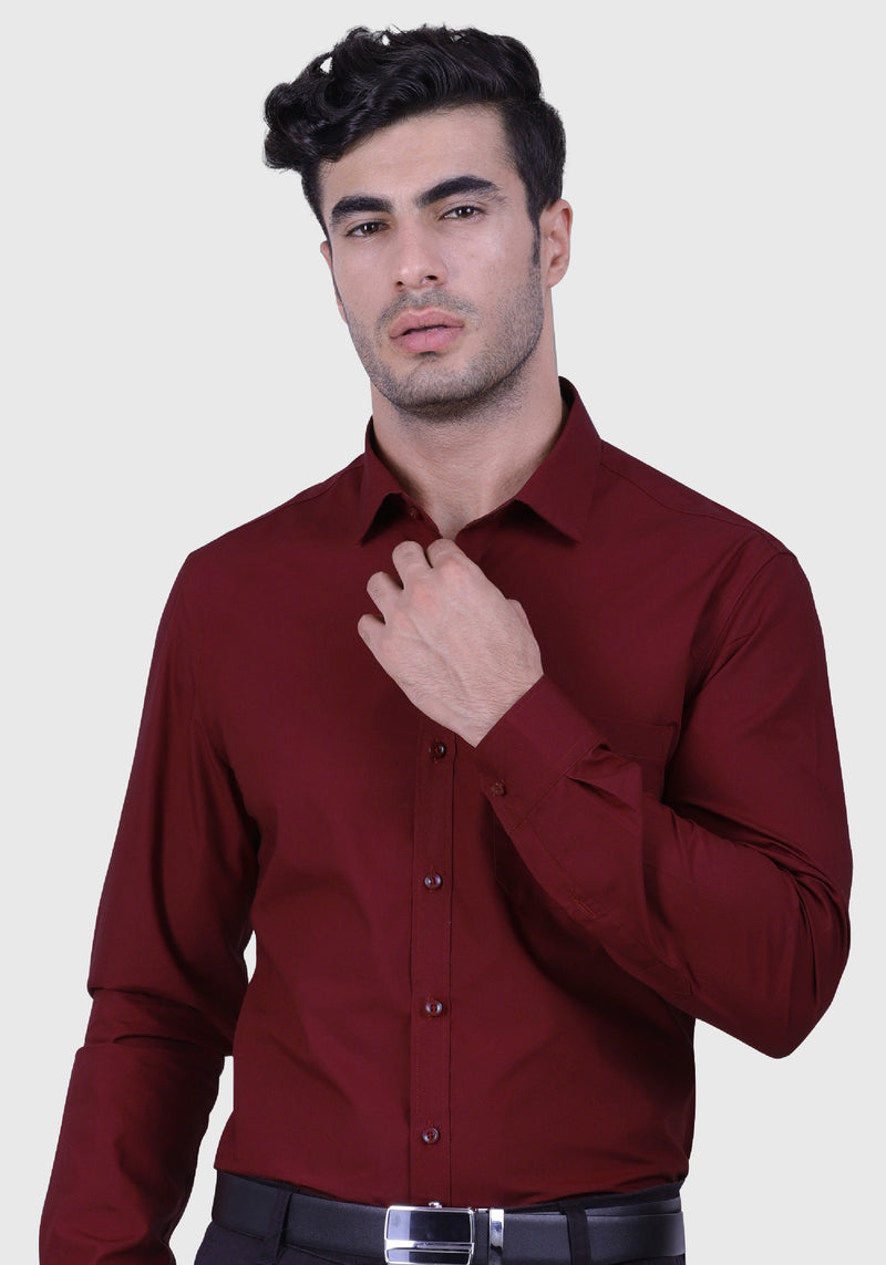 Sparkling Wine Red Shirt (Comfortable Slim Fit)