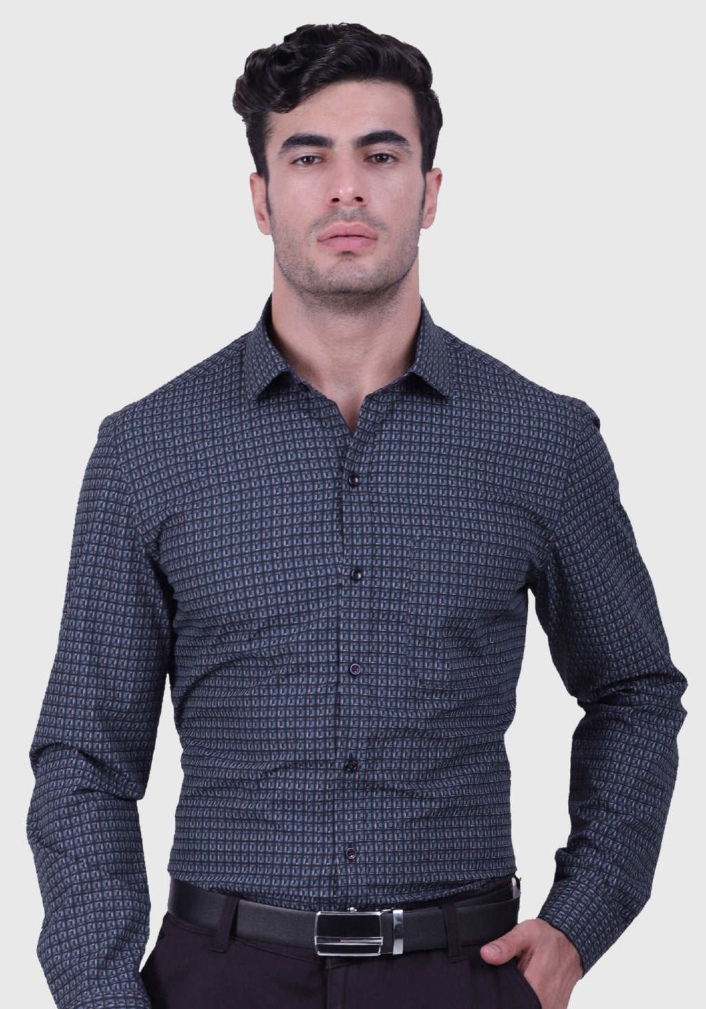 The Maze Grey Shirt (Comfortable Slim Fit)