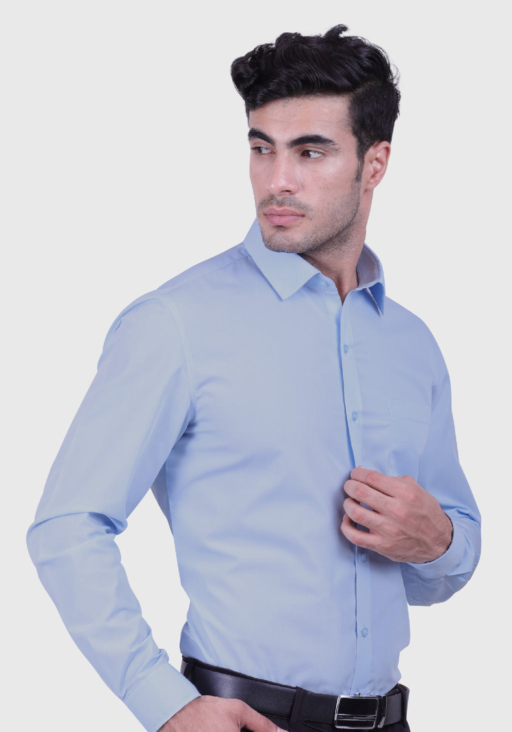 Calm Ocean Light Blue Shirt (Comfortable Slim Fit)