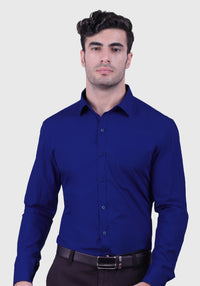 Egyptian Blue Shirt Comfortable Slim Fit)