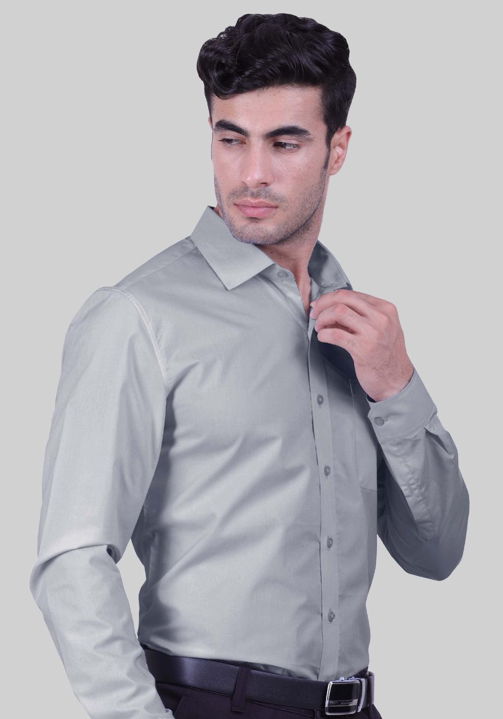 Pearl River Grey Shirt (Comfortable Slim Fit)