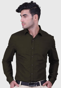 Dark Olive Green Shirt (Comfortable Slim Fit)