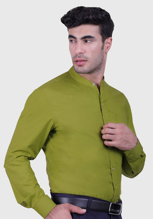 Moss Green Shirt (Comfortable Slim Fit)