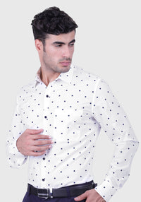 Ice Dot White Shirt (Comfortable Slim Fit)