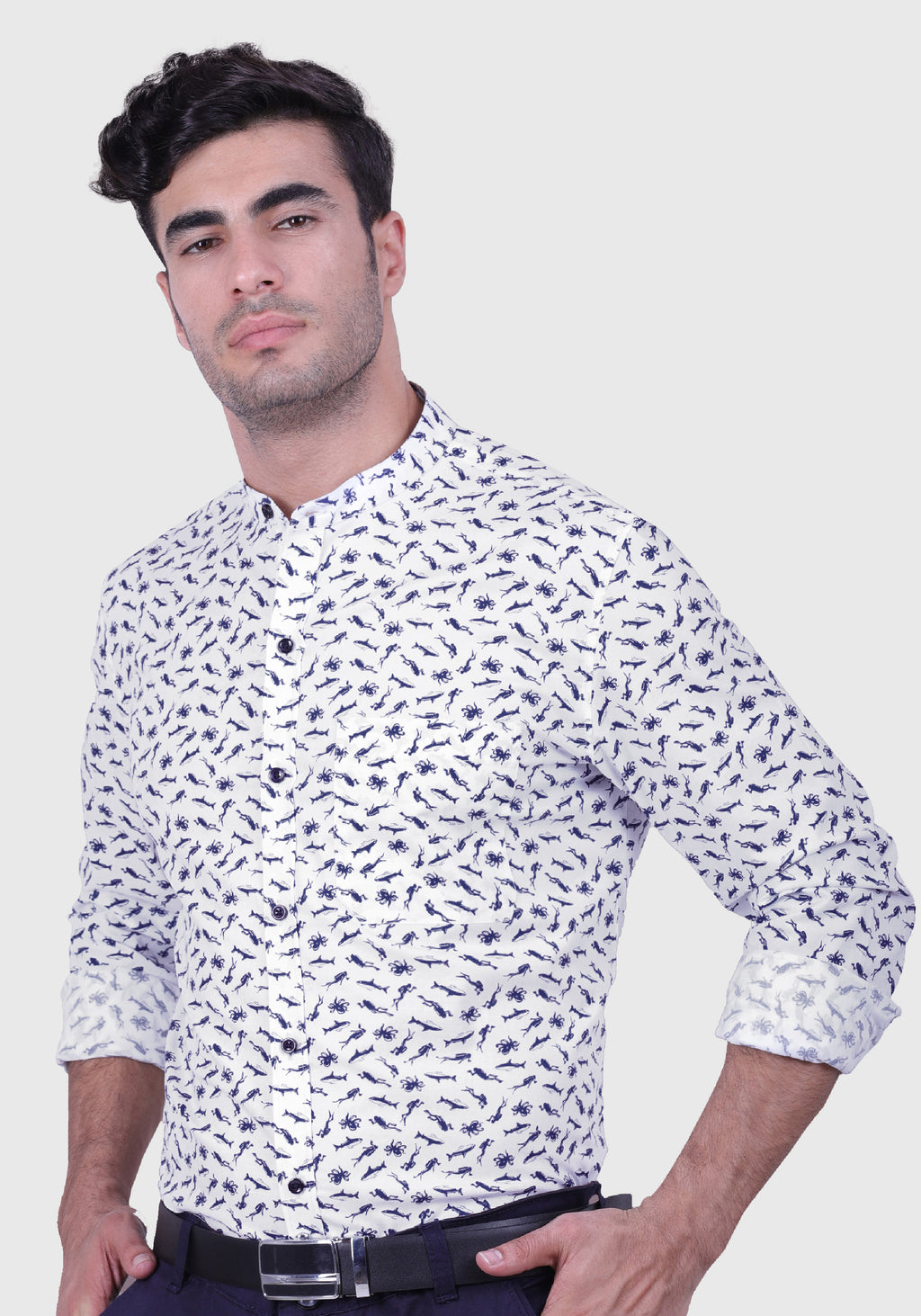 Swirling Ocean White Shirt (Comfortable Slim Fit)