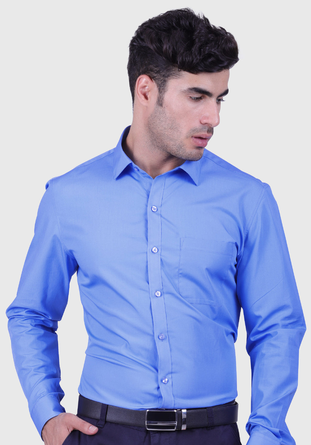 Cornflower Blue Shirt (Comfortable Slim Fit)