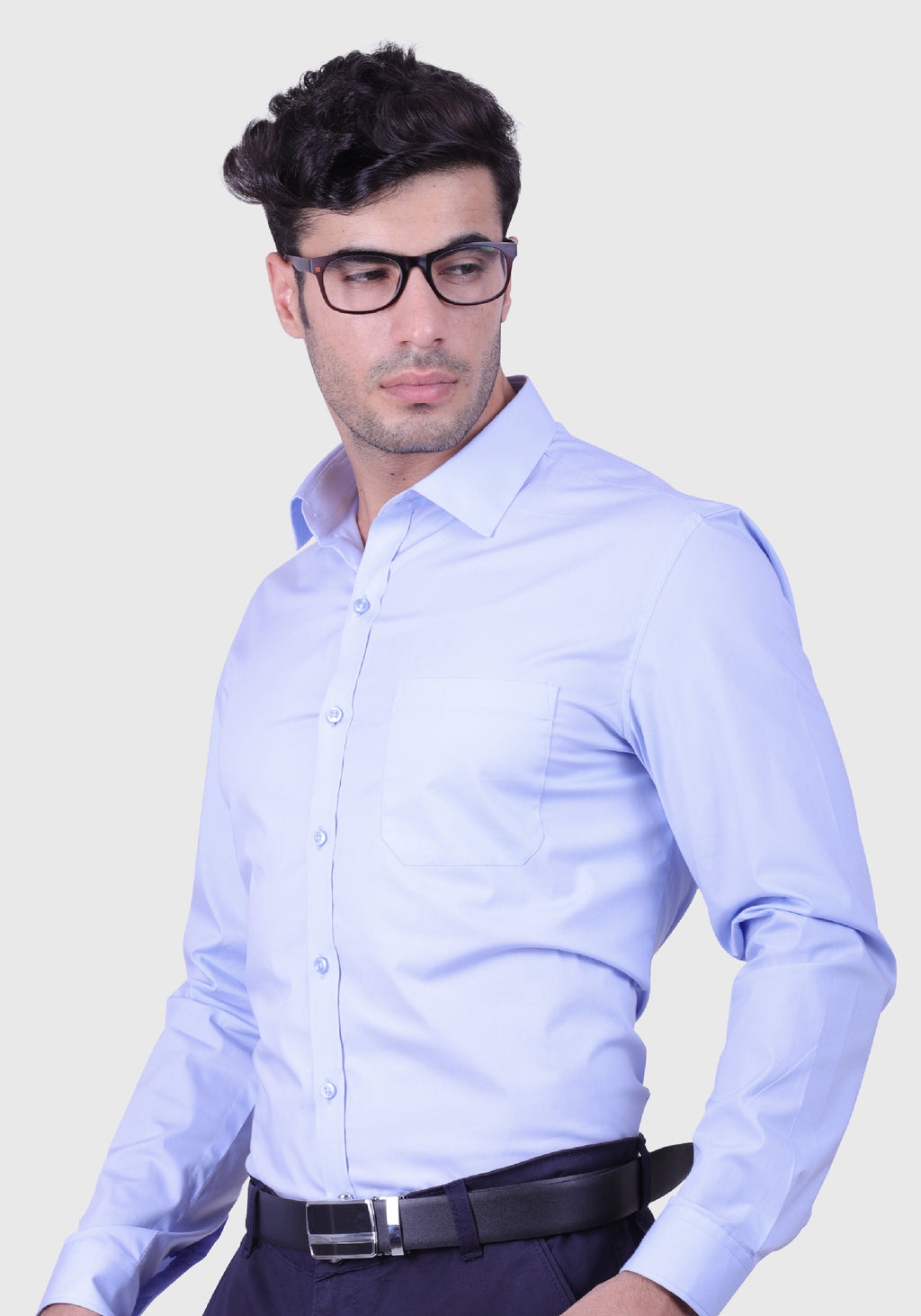 Serene Blue Shirt (Comfortable Slim Fit)