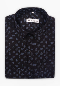Party House Black Shirt (Comfortable Slim Fit)