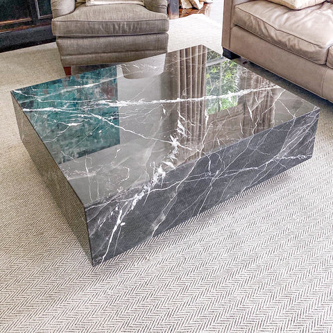 Floating Black Calacatta Marble Coffee Table