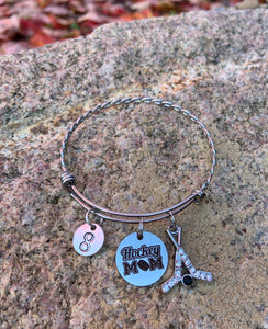 Hockey Mom Bangle with Number - Jewelry