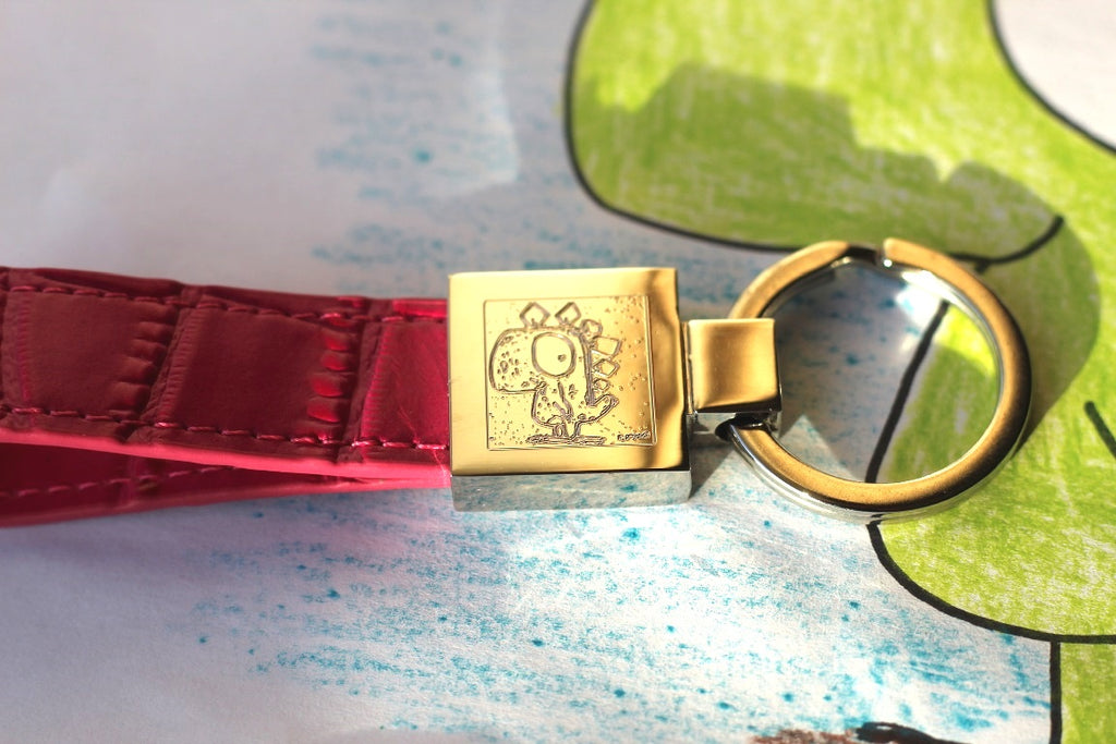 Leather keyring with engraved image