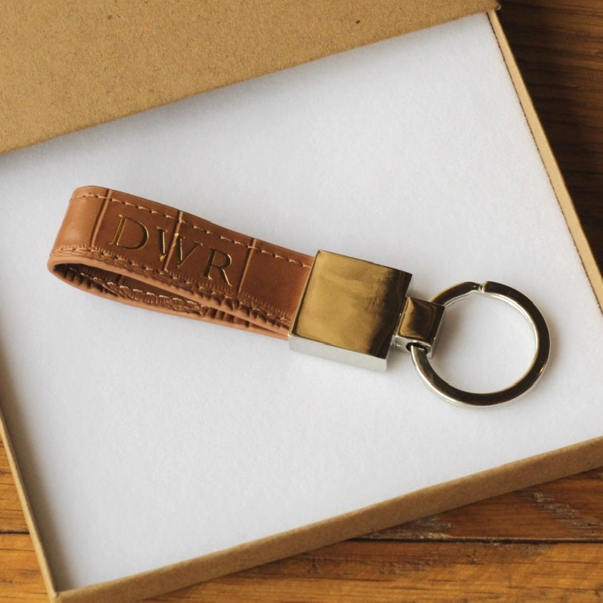 Brown crocodile leather keyring