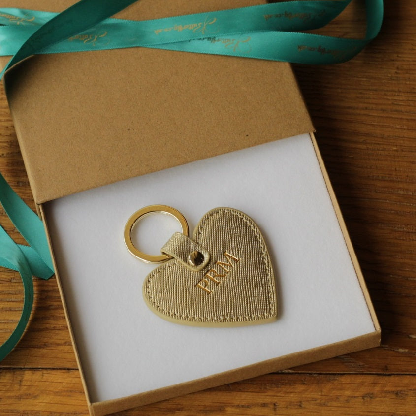 Personalised Gold Saffiano Leather Heart Keyring