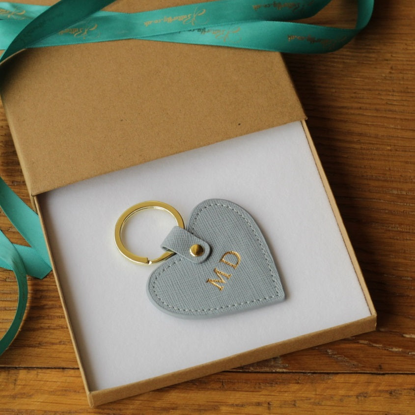 Personalised Grey Saffiano Leather Heart Keyring