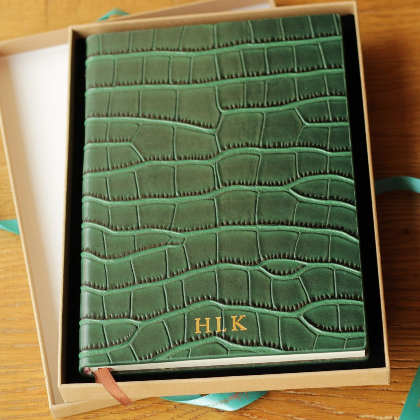 Personalised Green Crocodile Leather Notebook
