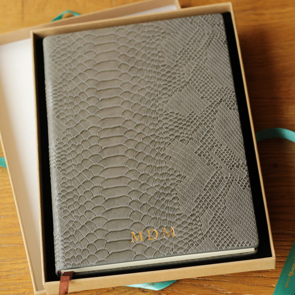 Grey leather notebook journal snakeskin