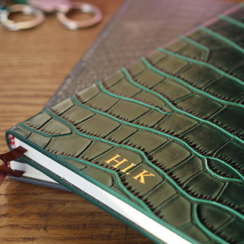 Green crocodile leather notebook