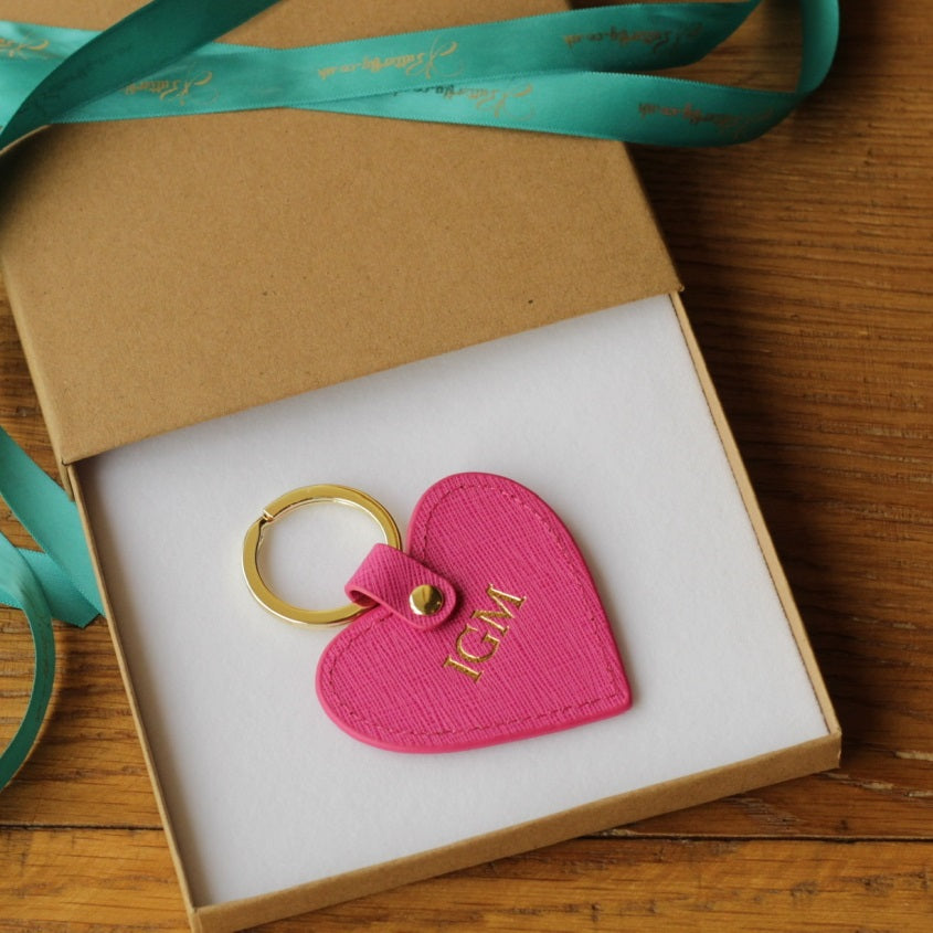 Personalised Pink Saffiano Leather Heart Keyring