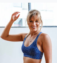 Load image into Gallery viewer, Perky Gal Bra - Deep Blue Polkadot