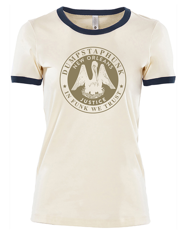 Ladies Justice Ringer Tee - Navy/Natural - PREORDER