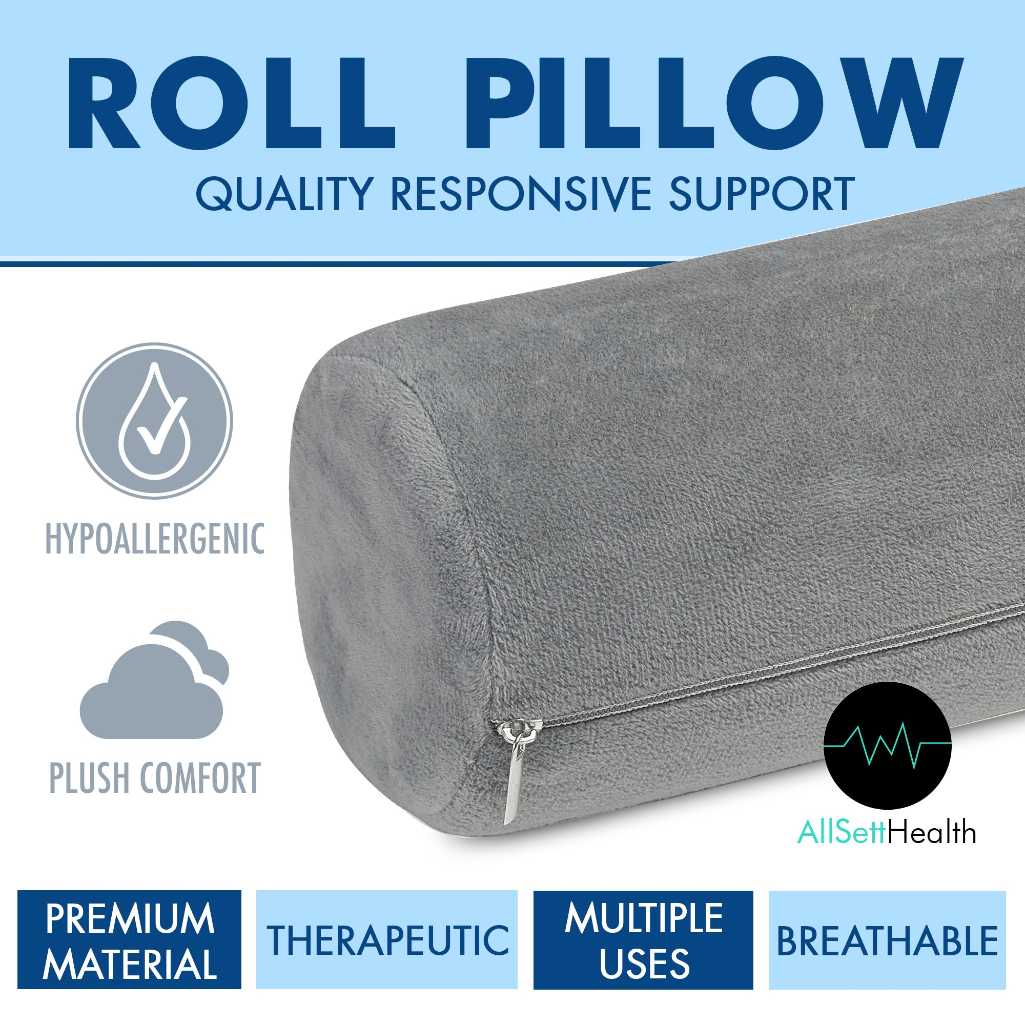 Allsett Health Cervical Neck Roll Memory Foam Pillow Bolster Pillow All Sett Health