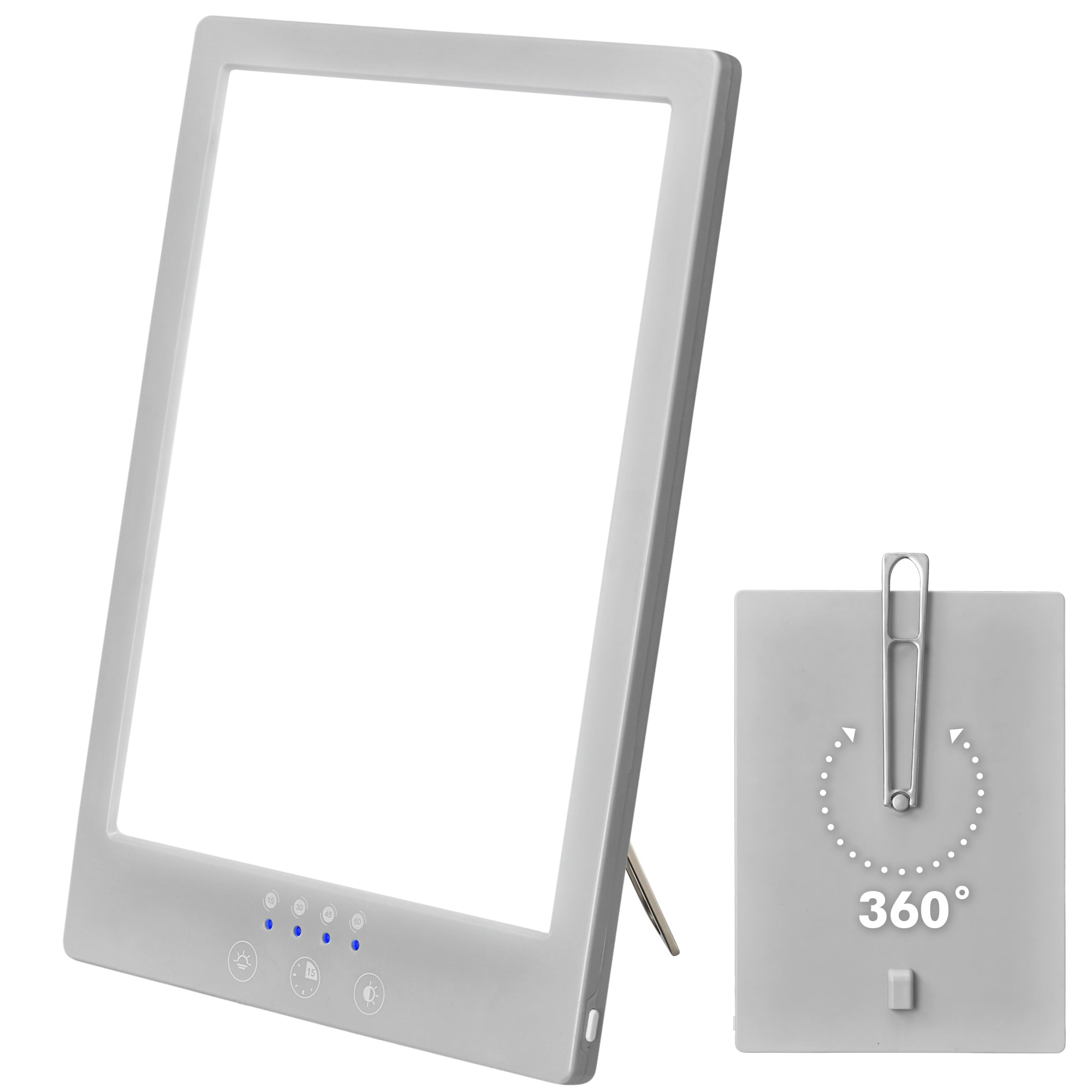 Sun Light Therapy Lamp - UV Free Therapeutic LED Temperature Control Lamp, 3000 to 6500K  - Rotating Stand, Timer, Gray