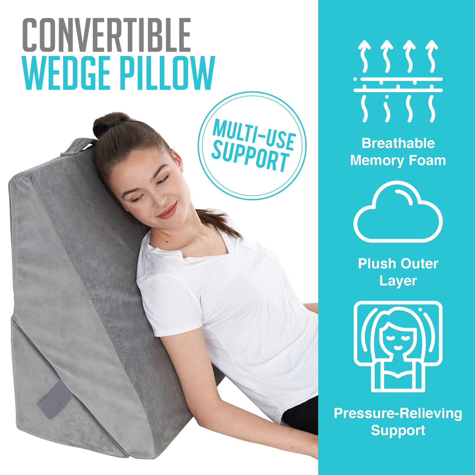 Bed Wedge Pillow, Back Support Memory Foam - Adjustable & Folding Incline Cushion for Anti Snoring, Heartburn - Washable Cover