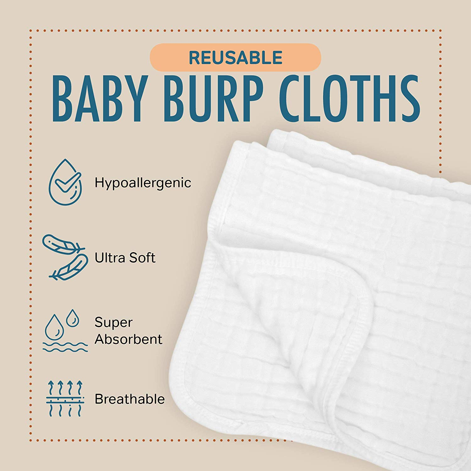 "Muslin Burp Cloths, Large 20"" x 10"", 100% Cotton, Extra Absorbent & Soft Hand Wash Cloth - Multi-Pack"