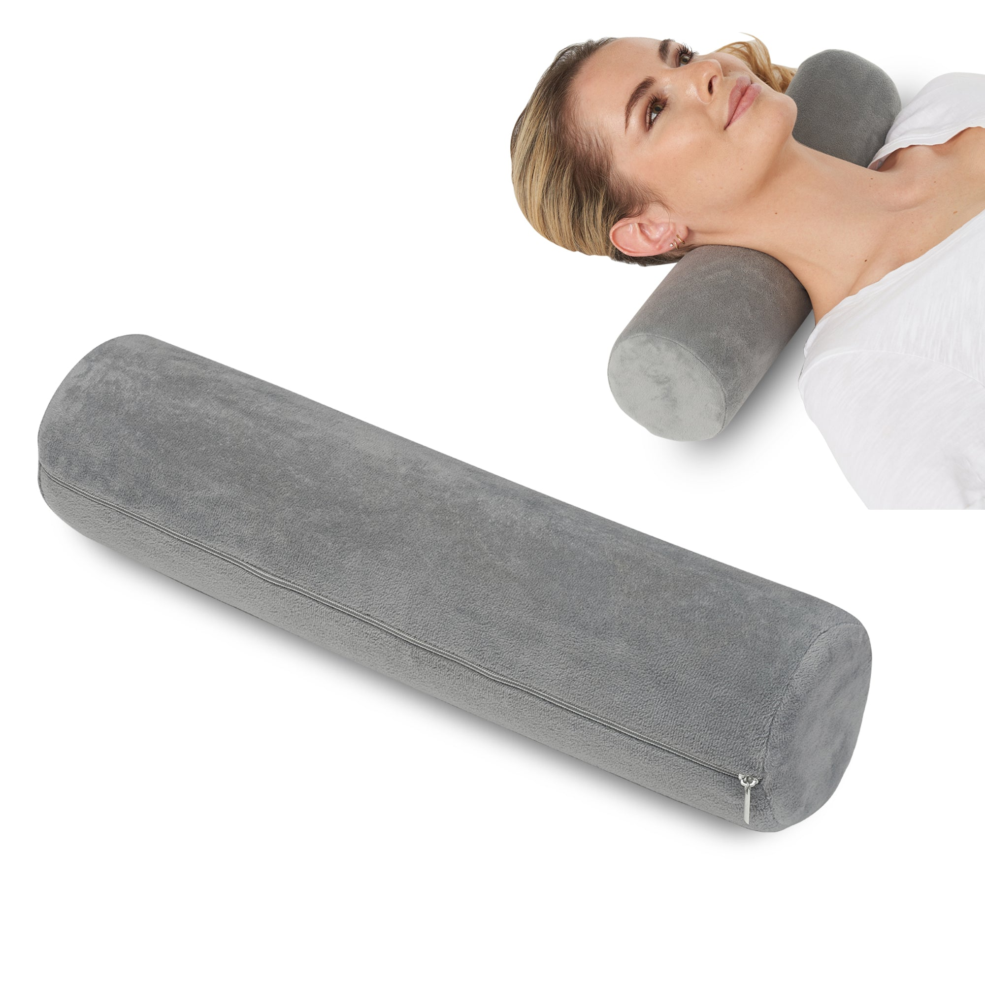 AllSett Health Cervical Neck Roll Memory Foam Pillow, Bolster Pillow, Round Neck Pillows Support for Sleeping | Bolster Pillow for Bed, Legs, Back and Yoga, Grey