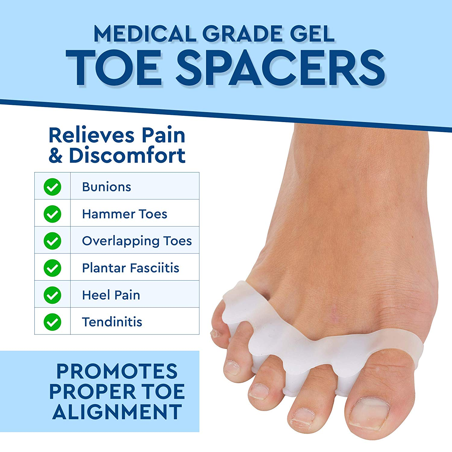 Gel Toe Separator, Toe Spacers Corrects Toes & Bunion (Universal Size) - 2 Pairs