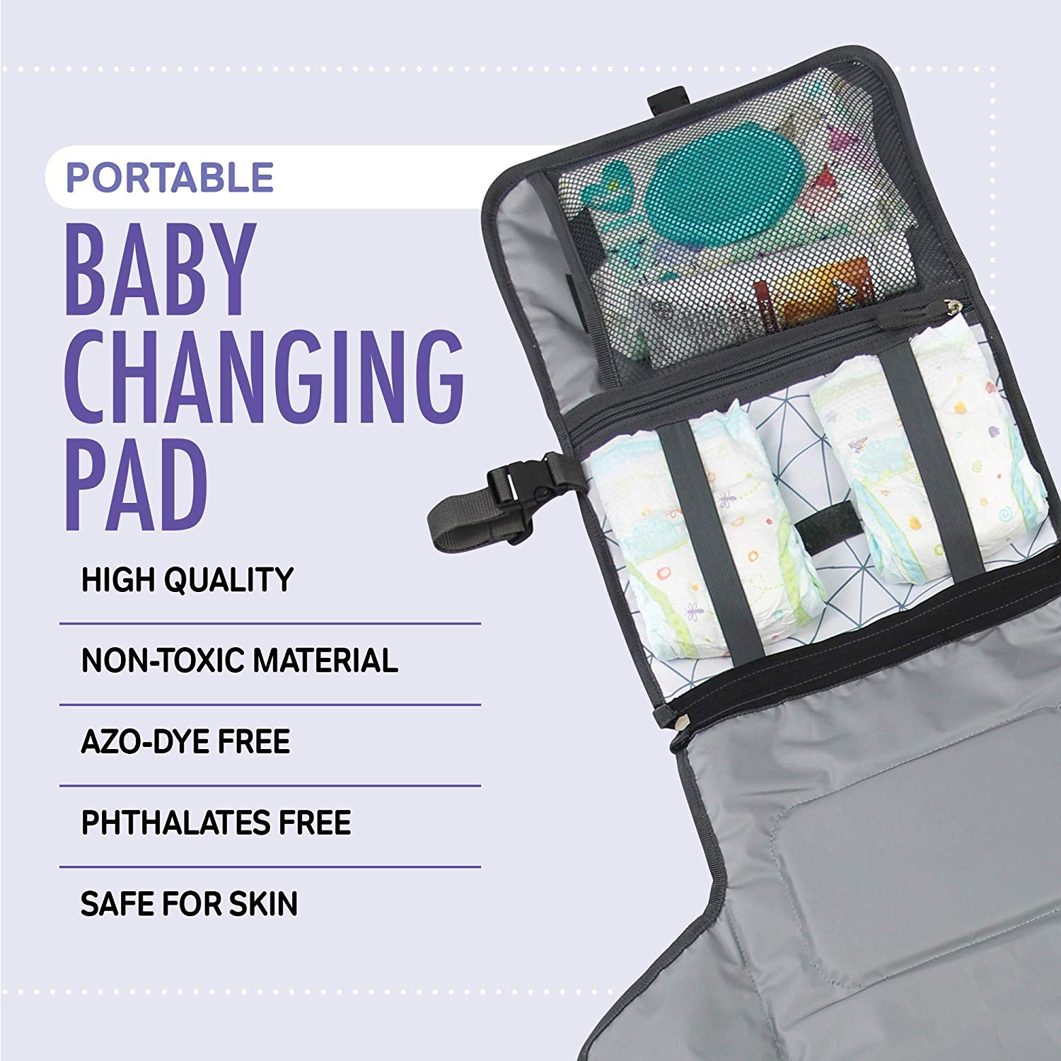 Baby Portable Diaper Changing Pad, Waterproof Padded Travel Changing Mat, w/ Pockets & Adjustable Strap