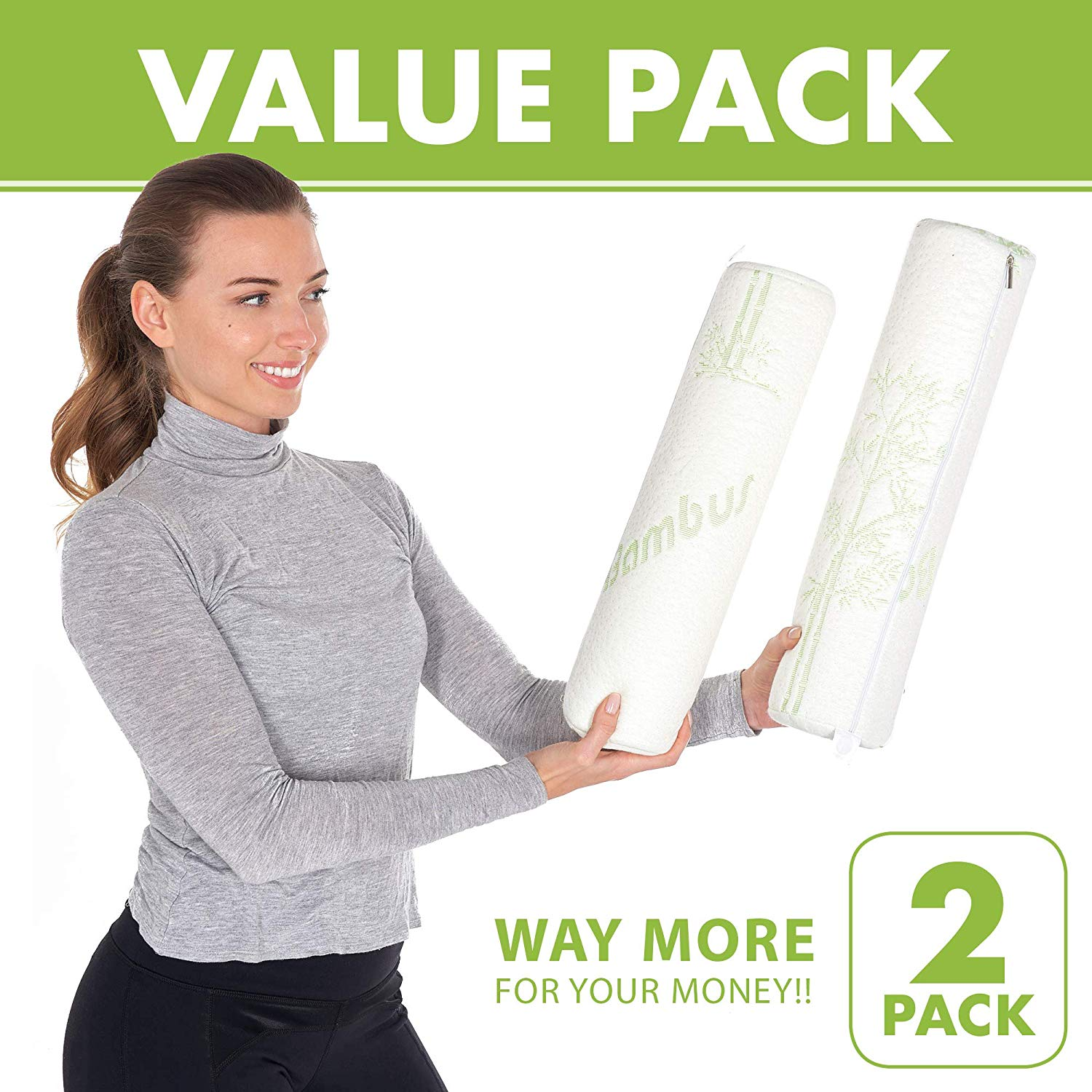 Bamboo Cylinder Neck Roll Cervical Memory Foam Pillow - Spine & Lumbar Support For Better Sleeping - 2 Pack
