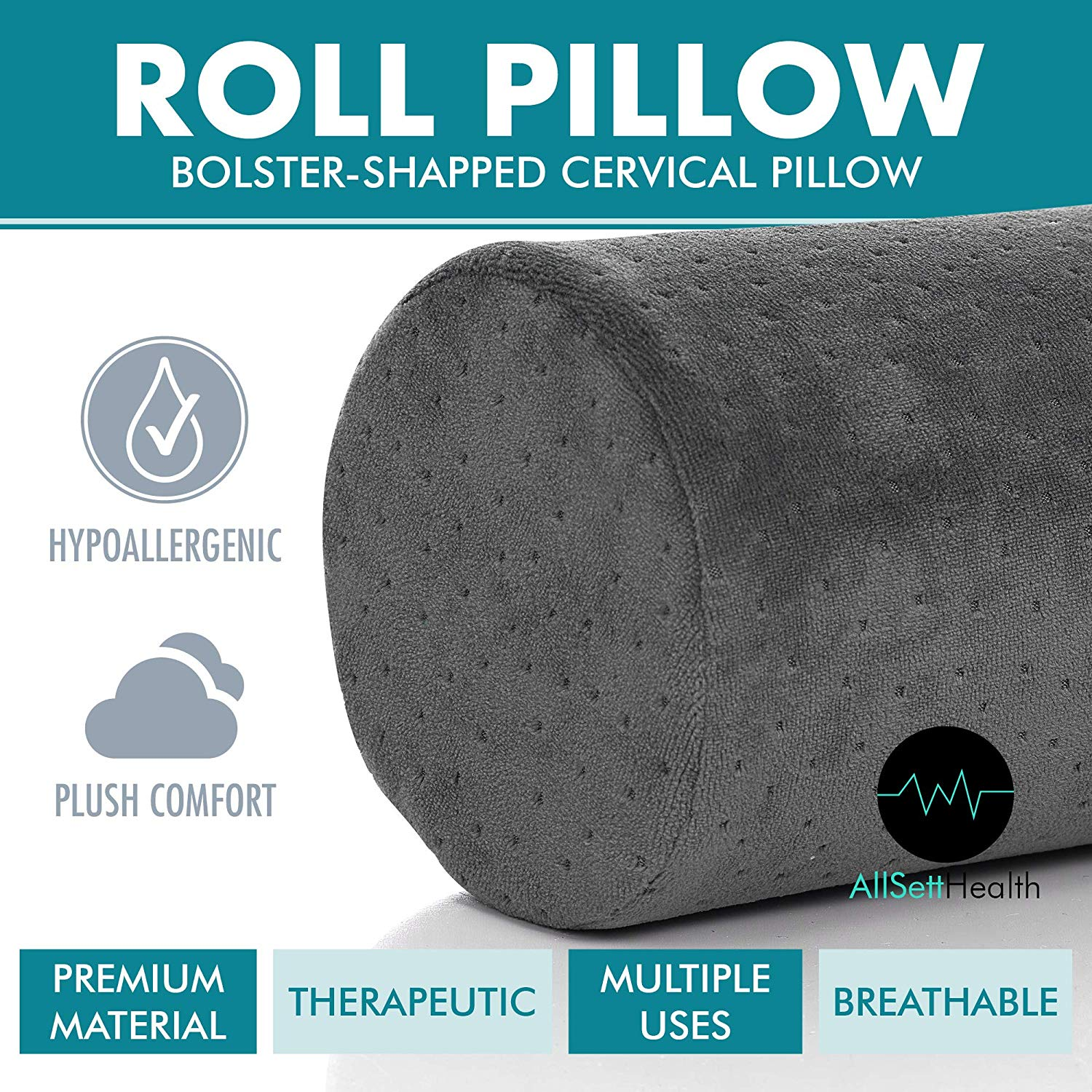 Bamboo Navy Round Cervical Roll Cylinder Bolster Pillow - Head, Back, Spine & Neck Support-Gray