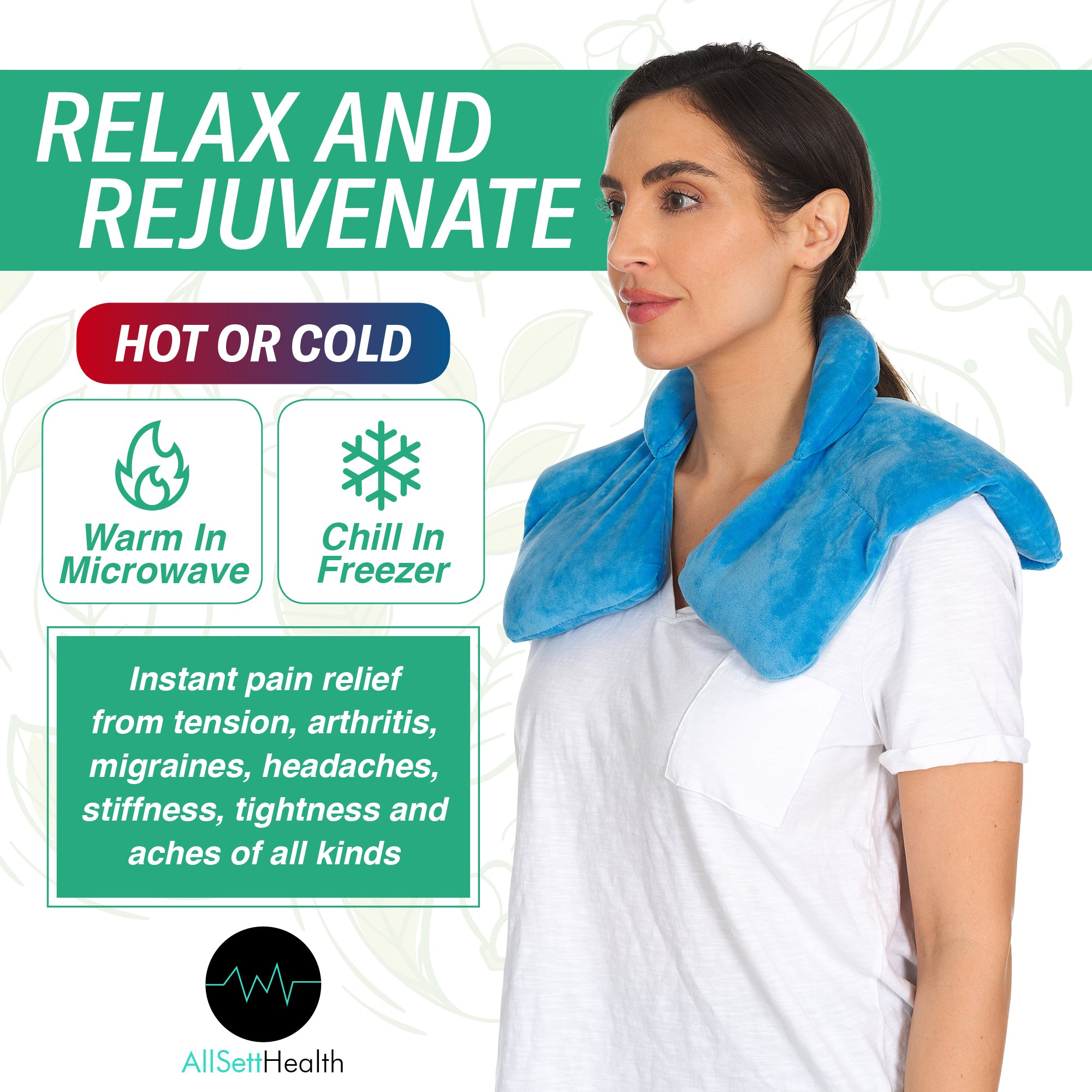 Microwavable Heating Pad for Neck & Shoulders - 3 Lbs Weighted Hot & Cold Wrap, Deep Pressure Relief, Comfort Design