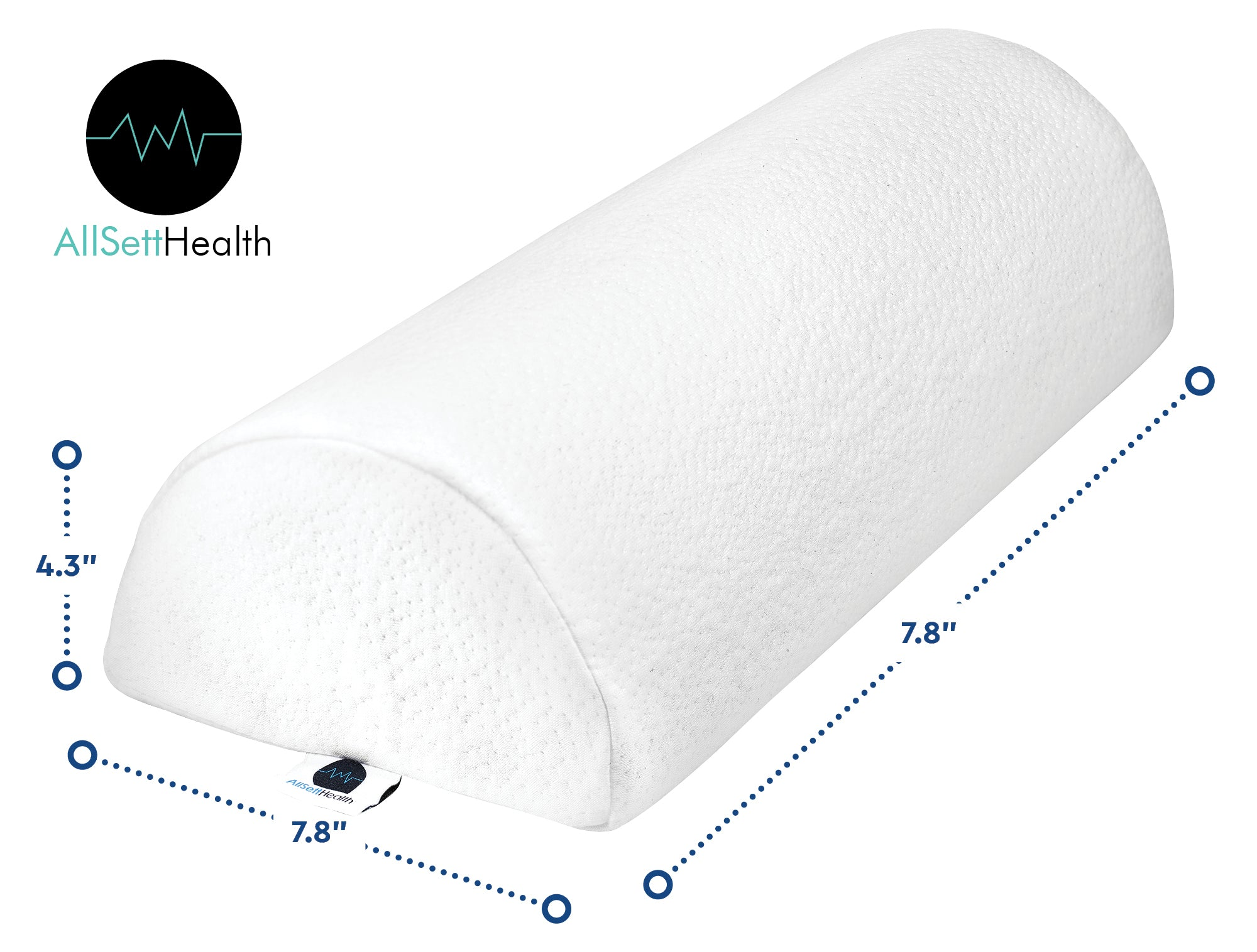 "2 PACK - Large Half Moon Bolster pillow for Legs, Back and Head | Semi Roll for Ankle and Foot Comfort With White Cotton Machine washable cover | Premium Memory Foam | 2 pillow system 20.5"" x 8"" x 4.5"""