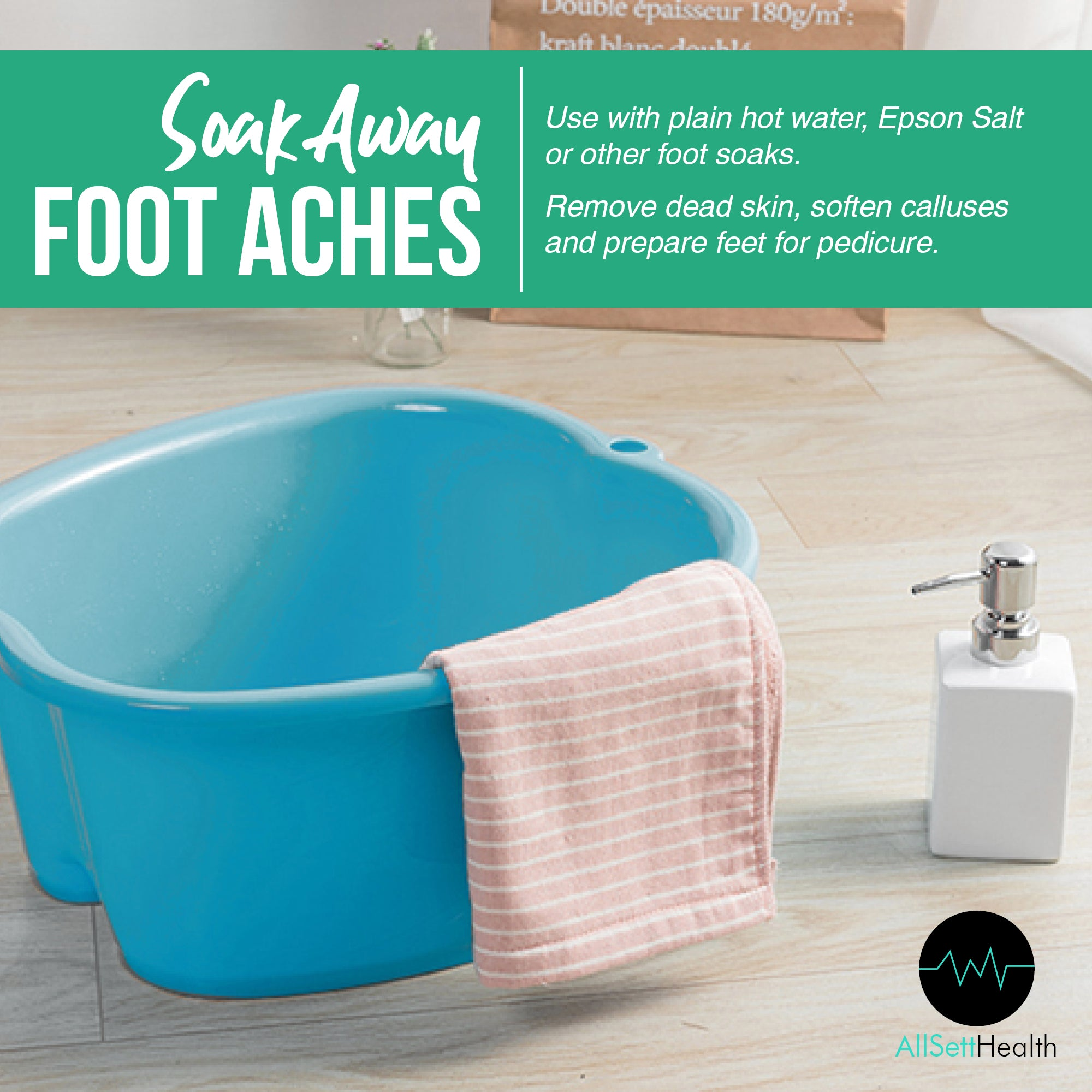 Foot Soaking Bath Basin – Large Size for Soaking Feet | Pedicure and Massager Tub for At Home Spa Treatment | Callus, Fungus, Dead Skin Remover