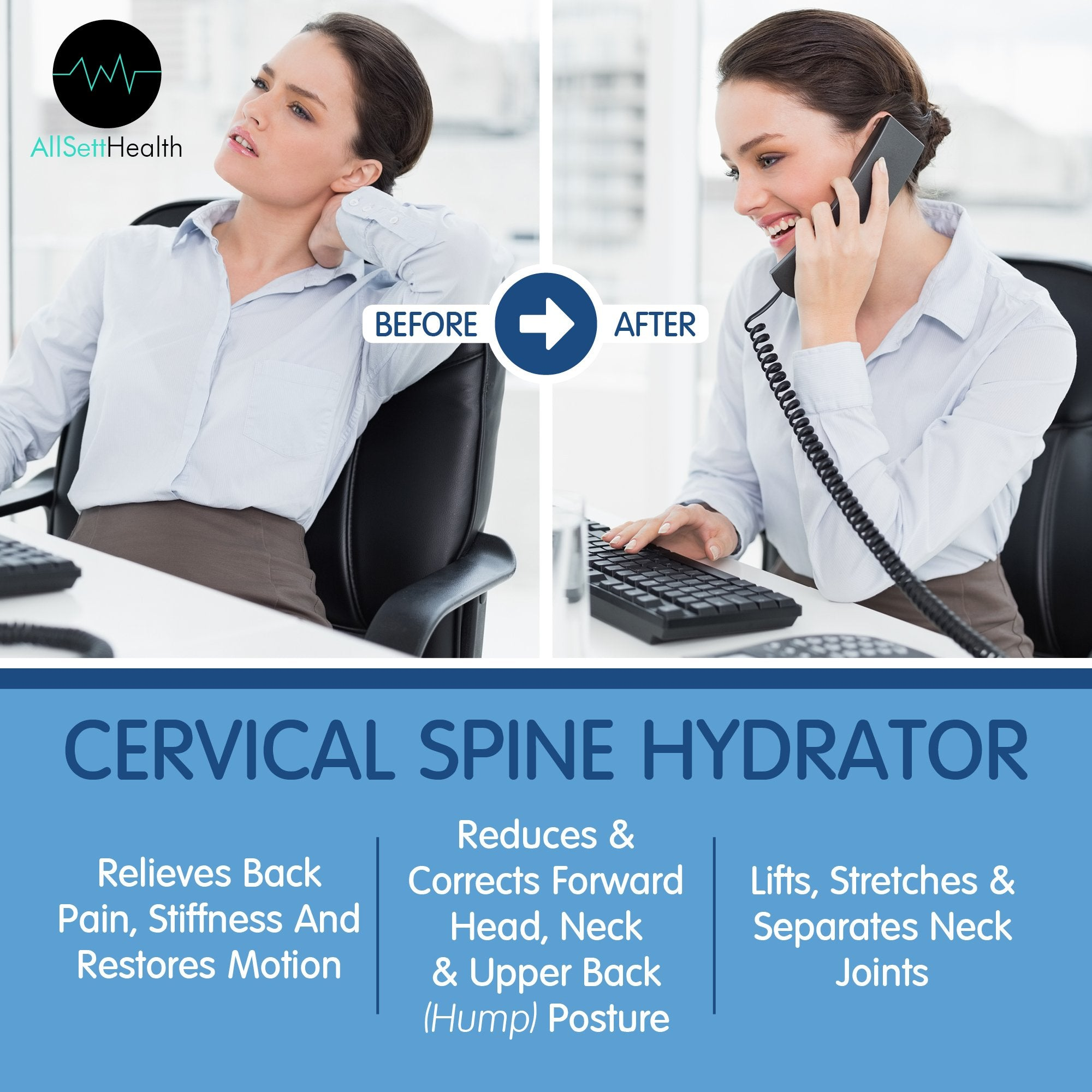 Posture Neck Relief Cervical Spine Hydrator Pump, Exercising Spine Posture & Curve Corrector for Neck & Spine Relief