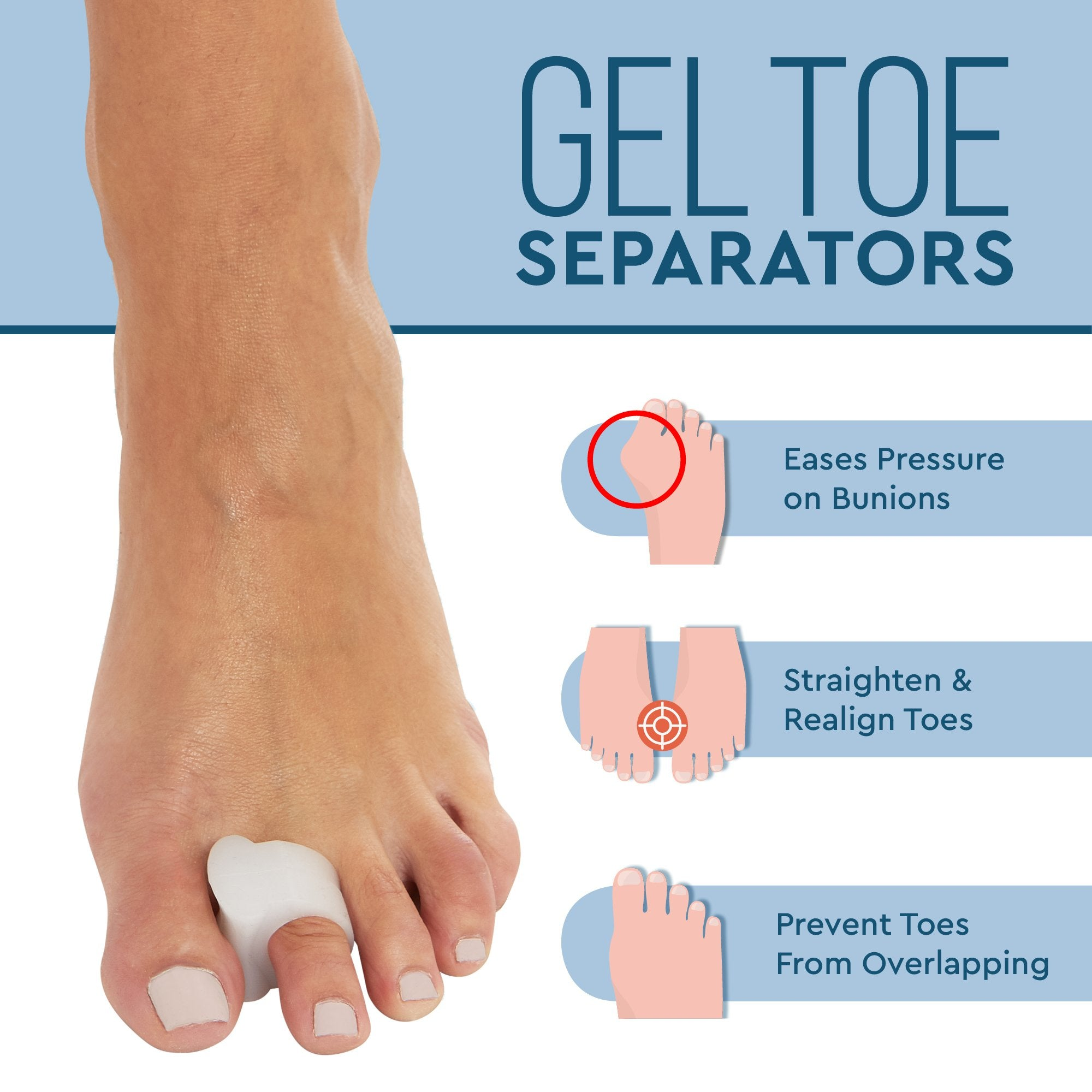 Toe Separators and Spreaders for Bunion - Hammer Toe Straightener 8 Pack