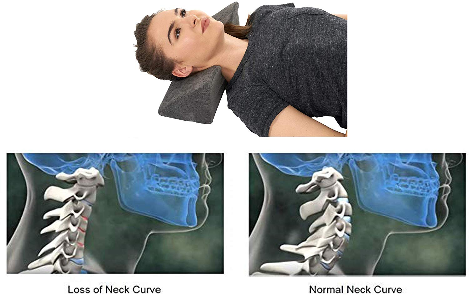 Neck Traction Cervical Fulcrum Wedge Pillow for Neck, Back, Shoulder, and TMJ Pain Relief