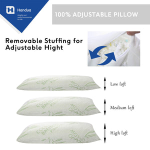 Handua Premium Adjustable Loft - Certipur Cross-Cut Memory Foam Pillow with Hypoallergenic Washable Removable Cooling Bamboo Derived Rayon Cover