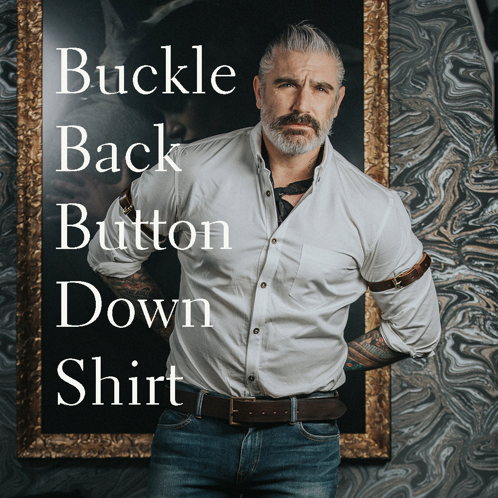Buckle Back Button Up Dress Shirt Made to Measure by Sheehan