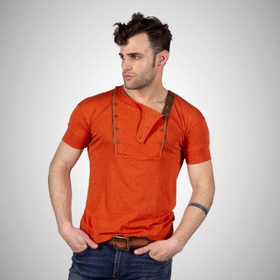 Short Sleeve Double Placket Henley