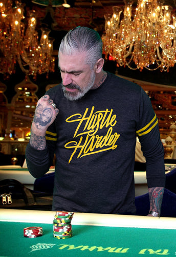 Hustle Harder Statement Tee on Strapped Long Sleeve