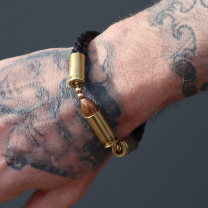 Centerfire Bracelet, Black Leather Cuff (9mm)