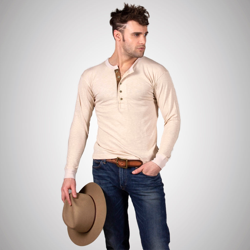 Long Sleeve Leather Placket Henley