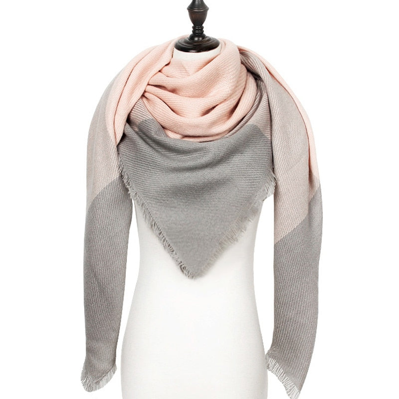 Tricolor Luxury Blanket Scarf - Gray, Brown, & Salmon